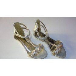 Adora AS020-1 Silver Girls Dress Sandals 34 EU