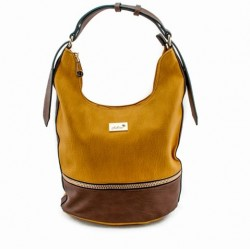 Adora AH006 Yellow Brown PU Leather Handbag