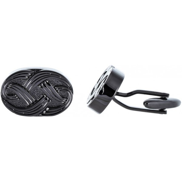 Philippe Moraly Men's Black Gold Plated Brass Cufflinks