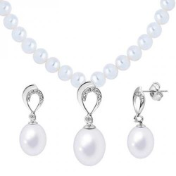 Joyalukkas Silver Pearl Necklace Set QPSL9S