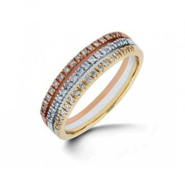Palazo Jewellery 18K White Gold 0.24cts Tri Tone Band